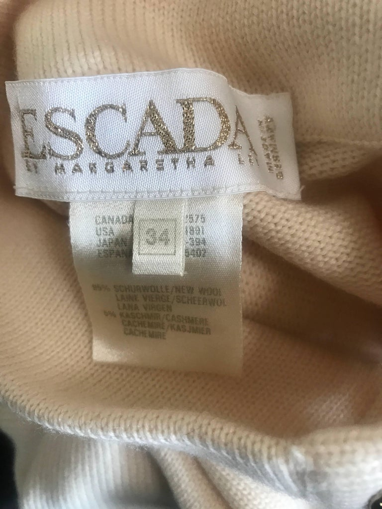Vintage Escada by Margaretha Ley Ivory Wool + Cashmere 1990s 90s Sweater Dress 10