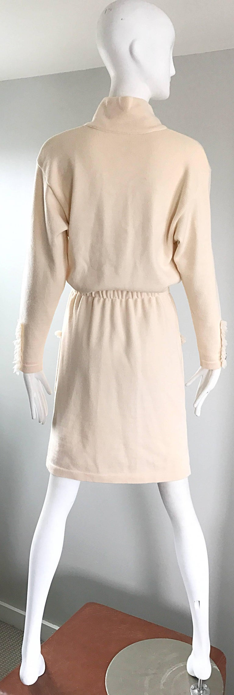 Vintage Escada by Margaretha Ley Ivory Wool + Cashmere 1990s 90s Sweater Dress 5