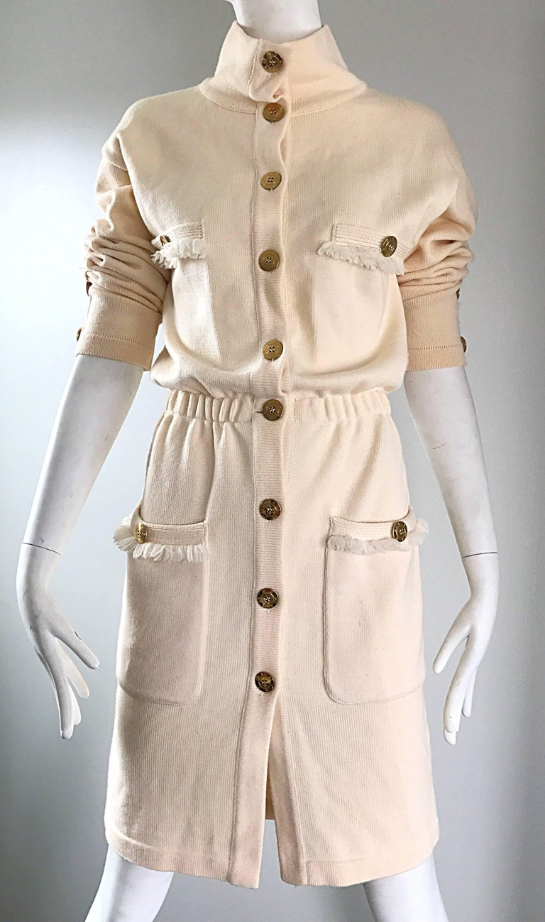 Vintage Escada by Margaretha Ley Ivory Wool + Cashmere 1990s 90s Sweater Dress 6