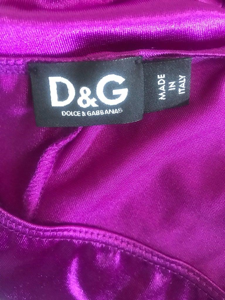 Dolce and Gabbana Vintage 1990s Magenta One Shoulder One Piece Vintage Bodysuit For Sale 5