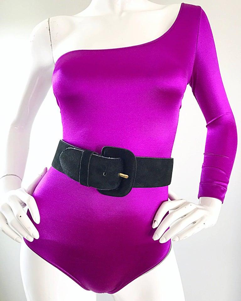 Women's Dolce and Gabbana Vintage 1990s Magenta One Shoulder One Piece Vintage Bodysuit For Sale