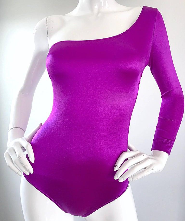 Dolce and Gabbana Vintage 1990s Magenta One Shoulder One Piece Vintage Bodysuit For Sale 2