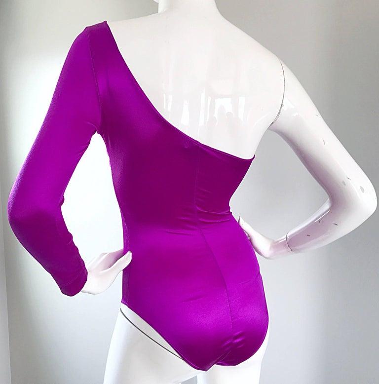 Dolce and Gabbana Vintage 1990s Magenta One Shoulder One Piece Vintage Bodysuit For Sale 3