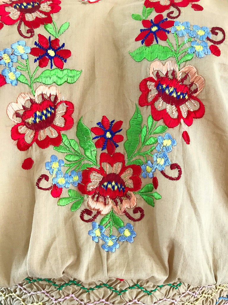 Brown 1940s Hungarian Embroidered Khaki Peasant Vintage 40s Smocked Crop Top Blouse  For Sale