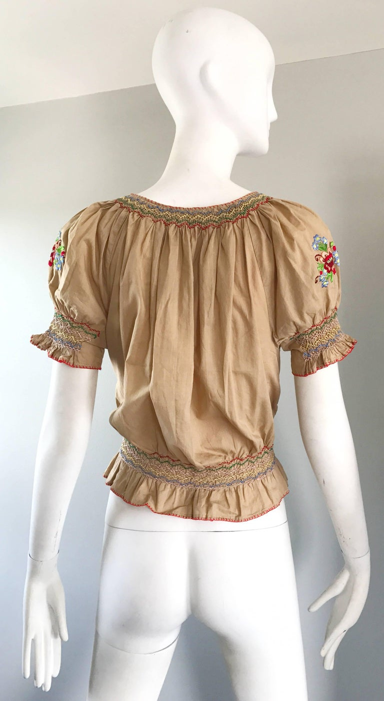 Women's 1940s Hungarian Embroidered Khaki Peasant Vintage 40s Smocked Crop Top Blouse  For Sale