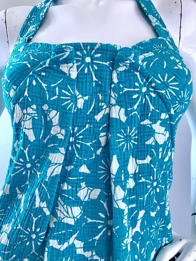 ff5f4e71bed9 Vintage Oscar de la Renta 1990s Turquoise Blue + White Hawaiian 90s Halter  Dress In Excellent