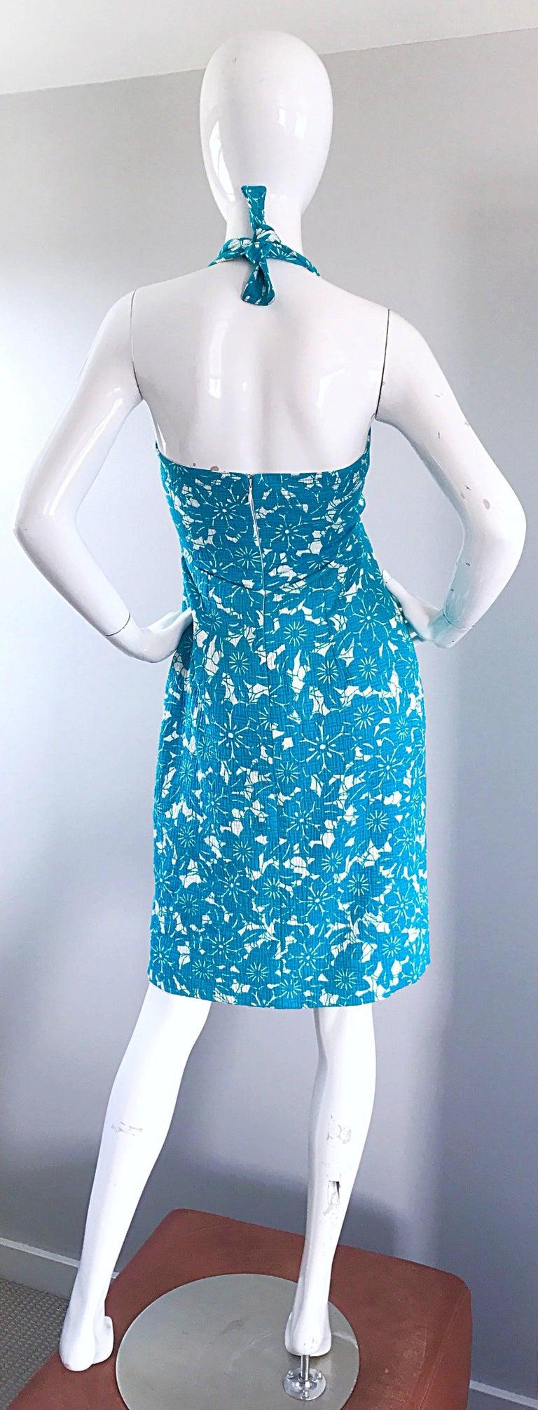 afd3fa2b9f3c Women's Vintage Oscar de la Renta 1990s Turquoise Blue + White Hawaiian 90s  Halter Dress For