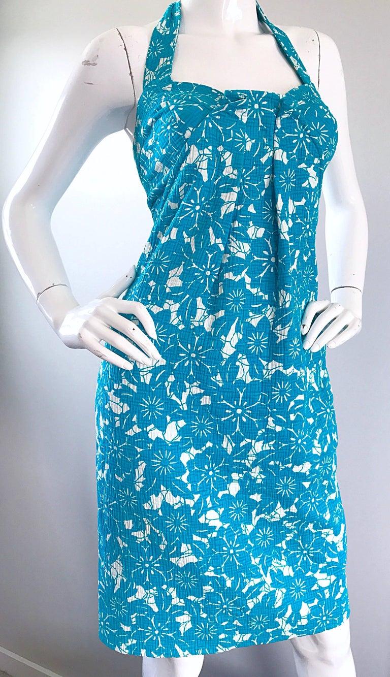 2f5011672542 Vintage Oscar de la Renta 1990s Turquoise Blue + White Hawaiian 90s Halter  Dress For Sale