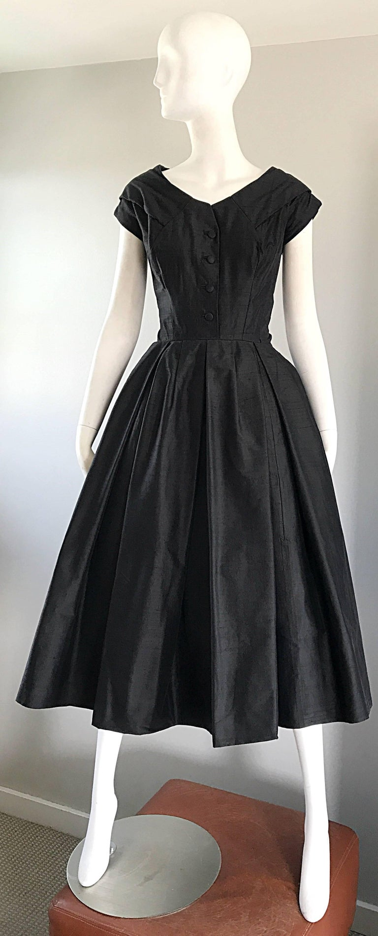 Rare 1950s Christian Dior Haute Couture ' New Look ' Vintage Black Silk Dress 2