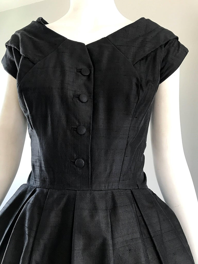 Rare 1950s Christian Dior Haute Couture ' New Look ' Vintage Black Silk Dress 3