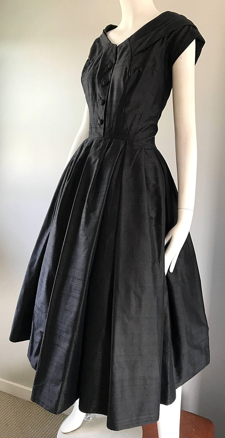 Rare 1950s Christian Dior Haute Couture ' New Look ' Vintage Black Silk Dress 4