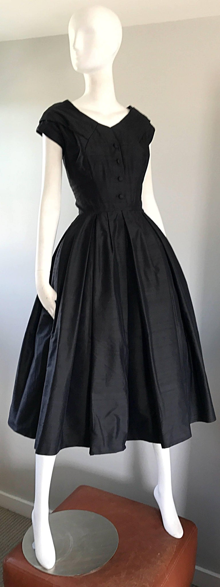 Rare 1950s Christian Dior Haute Couture ' New Look ' Vintage Black Silk Dress 5