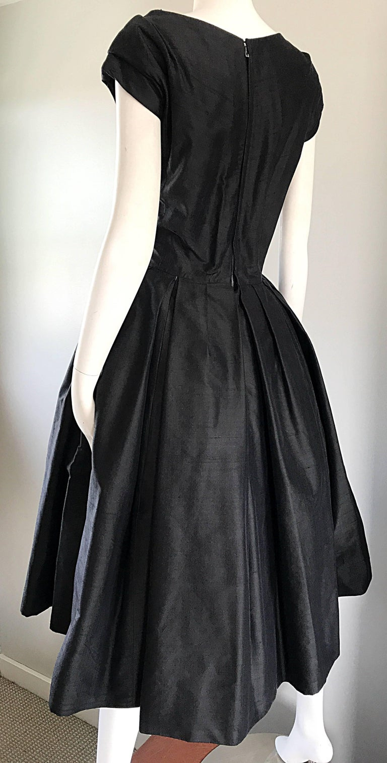 Rare 1950s Christian Dior Haute Couture ' New Look ' Vintage Black Silk Dress 6