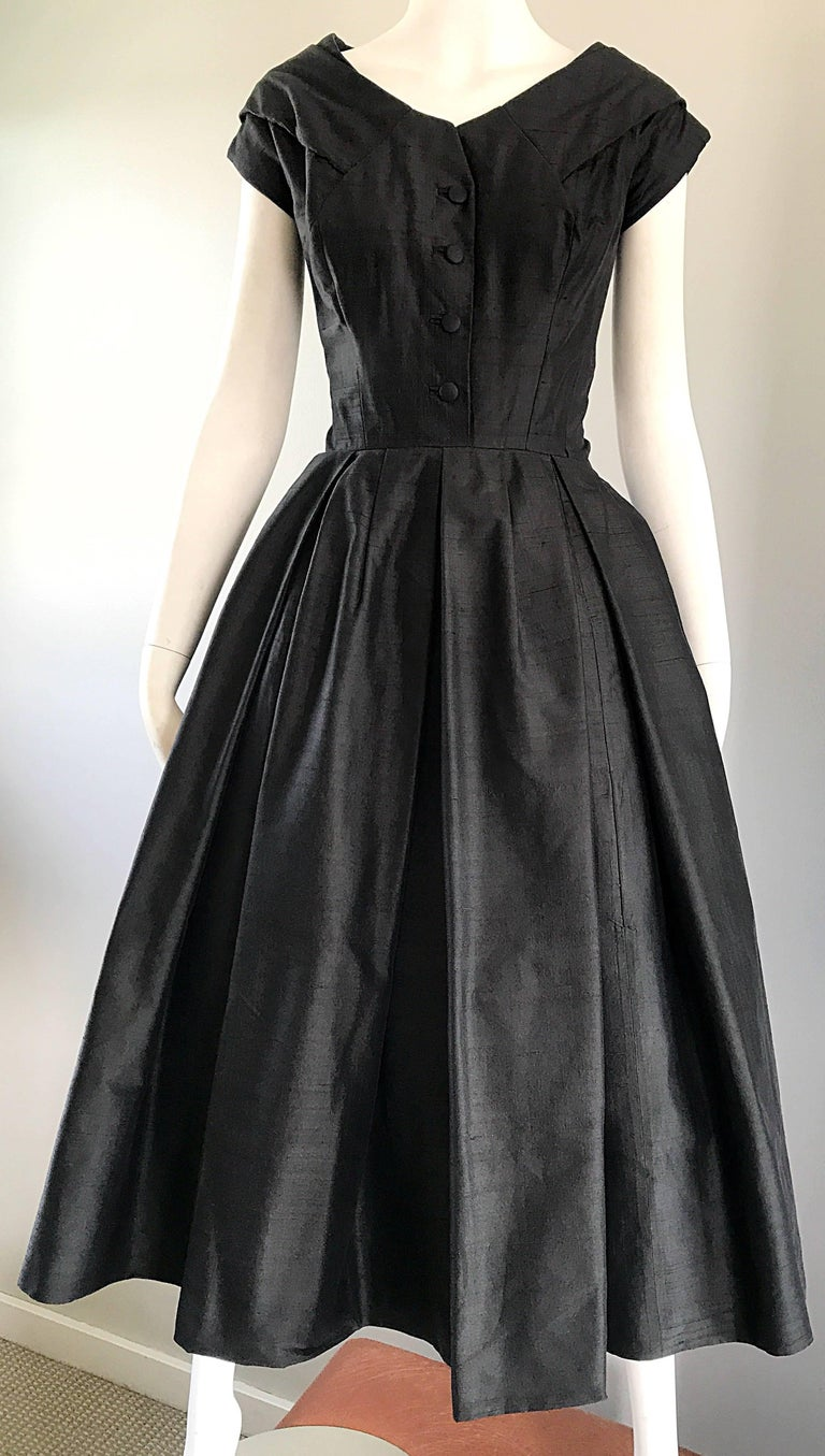 Rare 1950s Christian Dior Haute Couture ' New Look ' Vintage Black Silk Dress 7