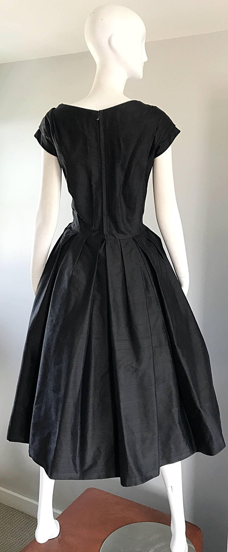 Rare 1950s Christian Dior Haute Couture ' New Look ' Vintage Black Silk Dress 8