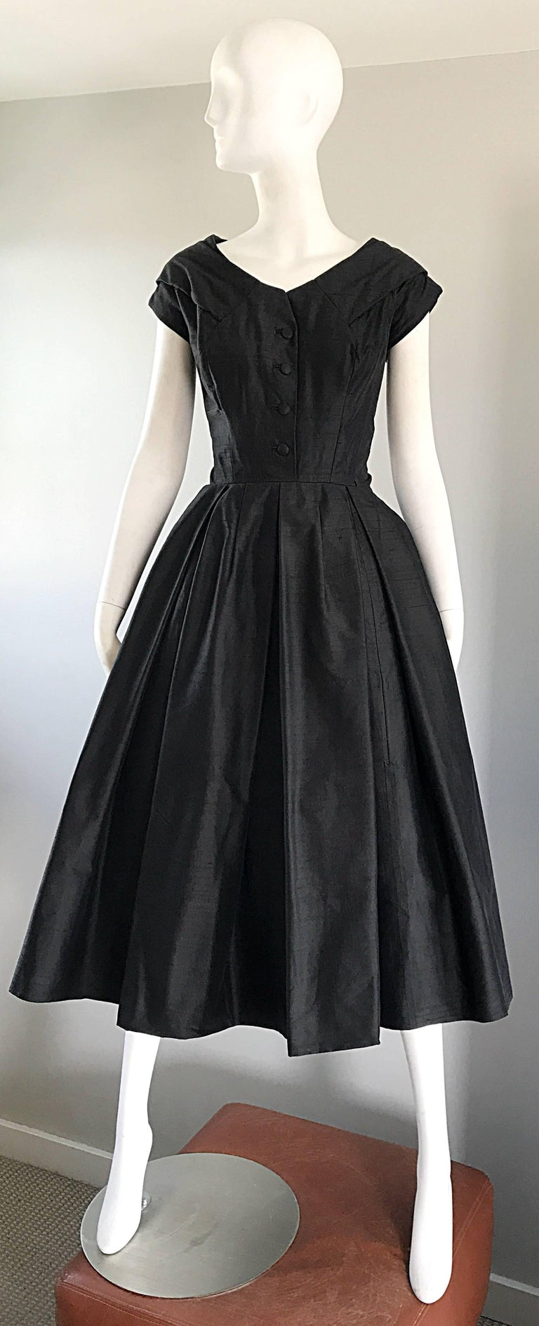 Rare 1950s Christian Dior Haute Couture ' New Look ' Vintage Black Silk Dress 9