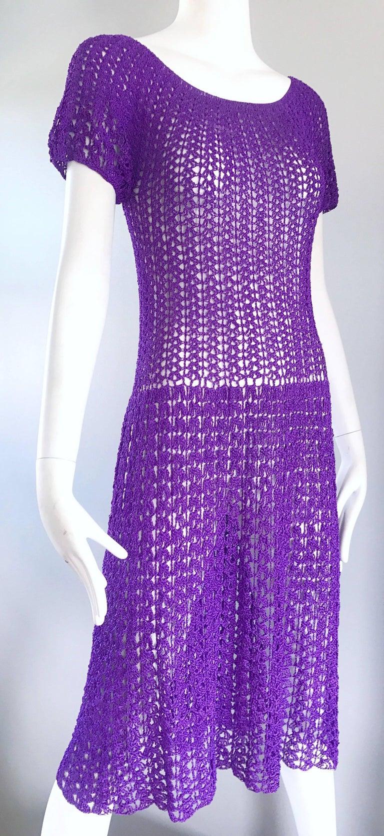 Chic 1960s Purple Italian Rayon Hand Crochet Vintage Semi Sheer 60s ...
