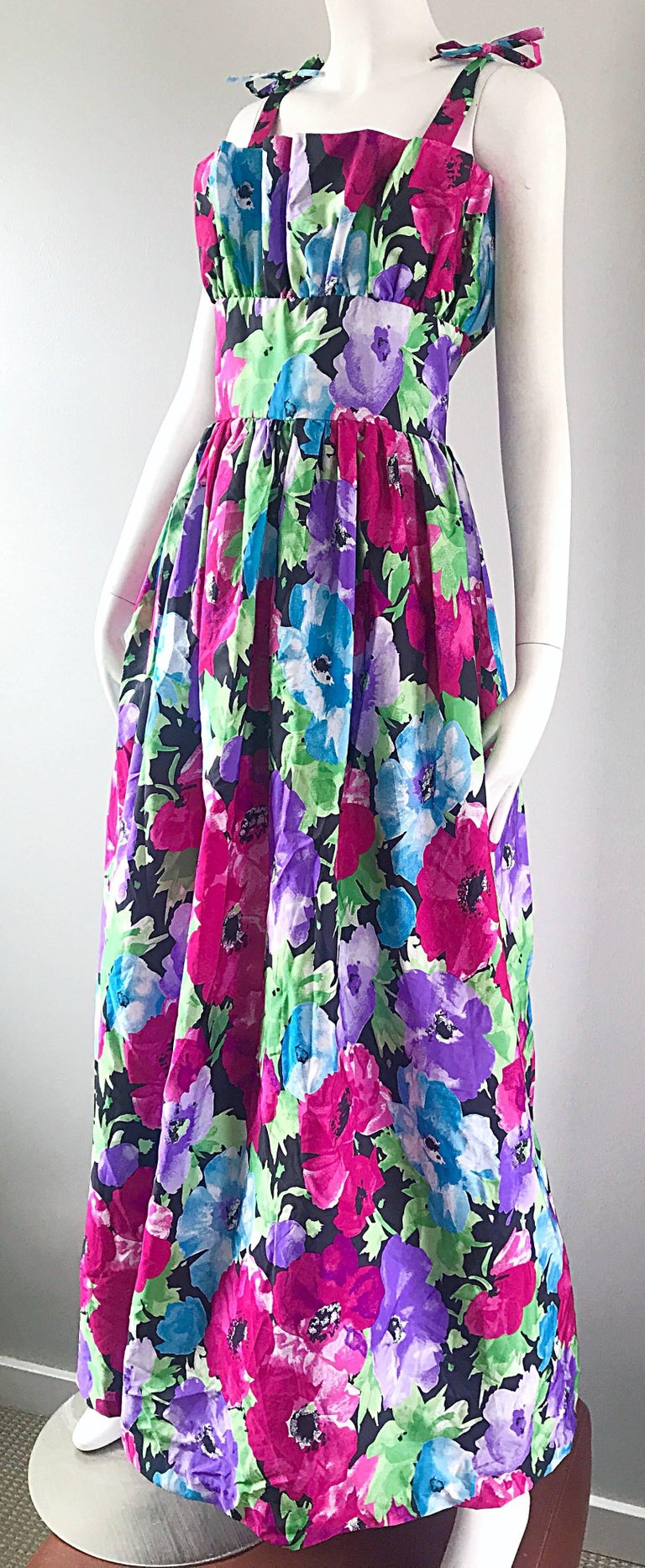 Amazing Vintage Victor Costa Size 16 Tropical Hawaiian Avant Garde Maxi Dress  In Excellent Condition For Sale In Chicago, IL