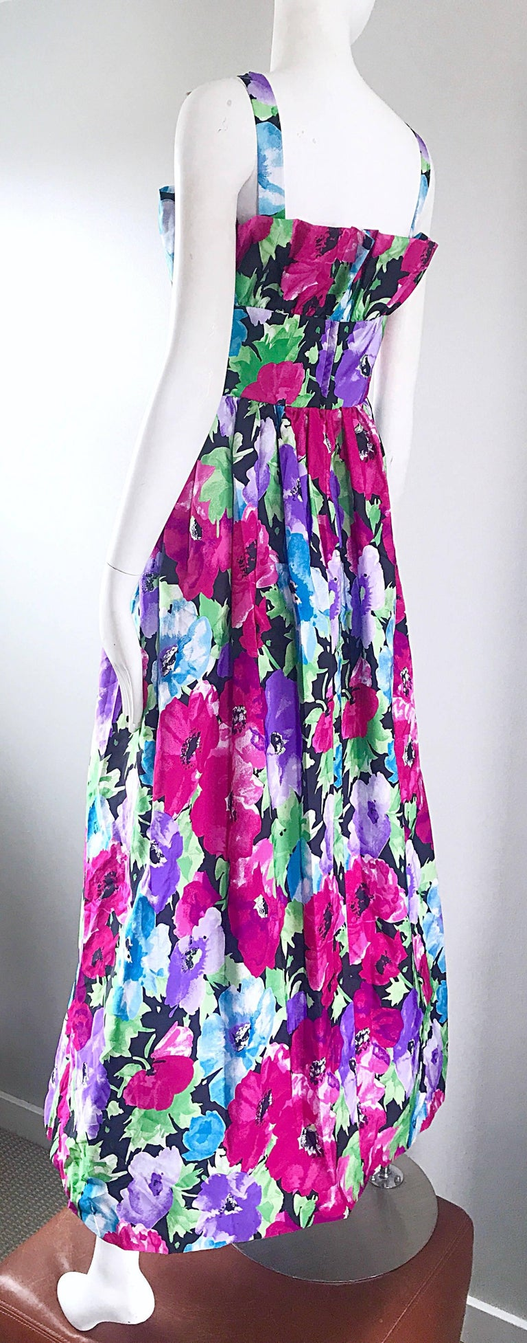 Amazing Vintage Victor Costa Size 16 Tropical Hawaiian Avant Garde Maxi Dress  For Sale 2