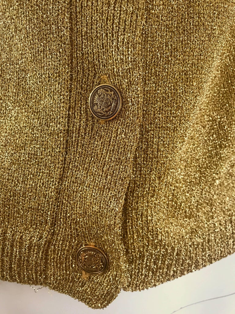 Brown 1950s Gold Metallic Lurex 3/4 Sleeves French Made Vintage 50s Cardigan Sweater For Sale
