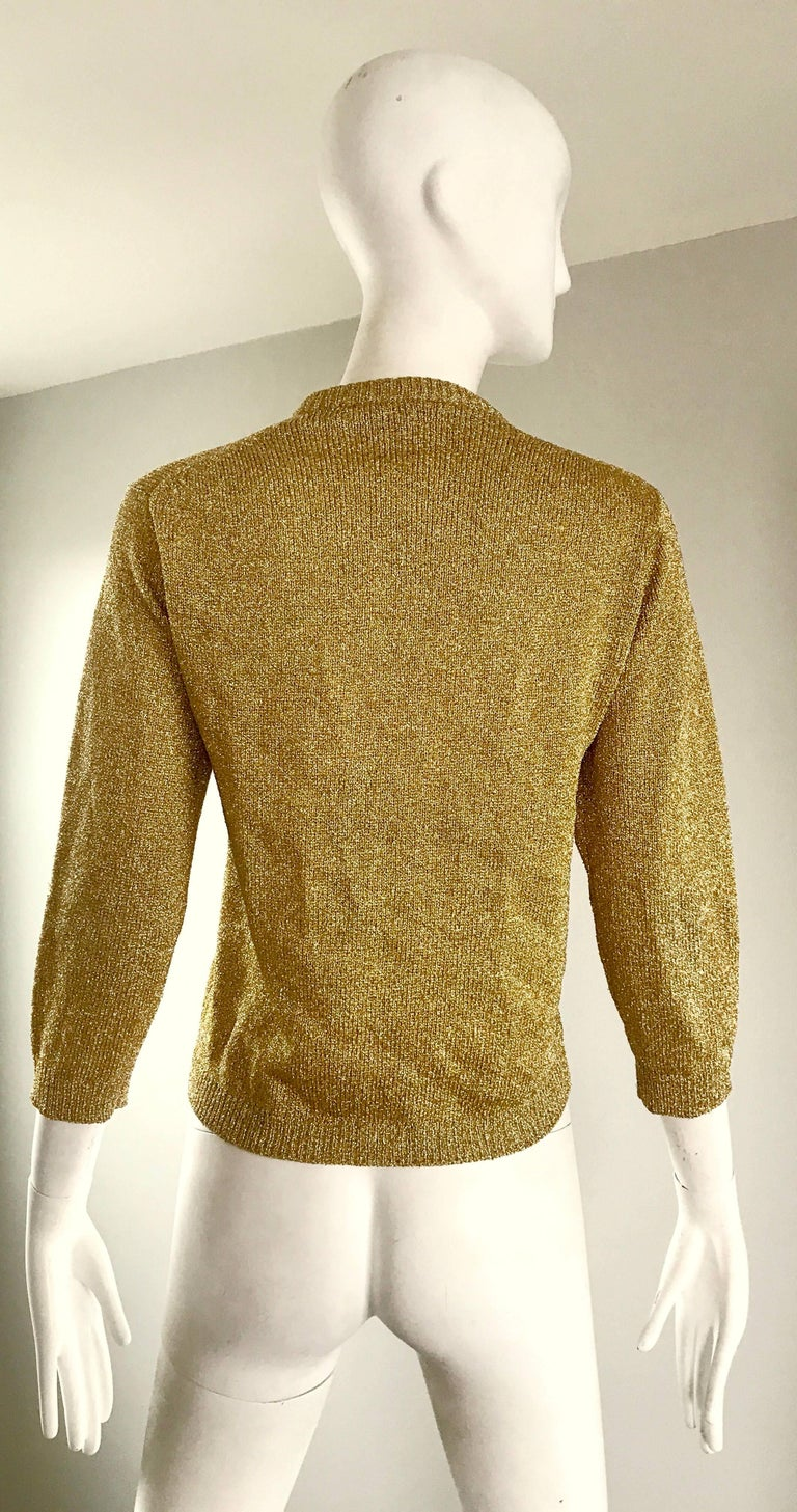 Women's 1950s Gold Metallic Lurex 3/4 Sleeves French Made Vintage 50s Cardigan Sweater For Sale