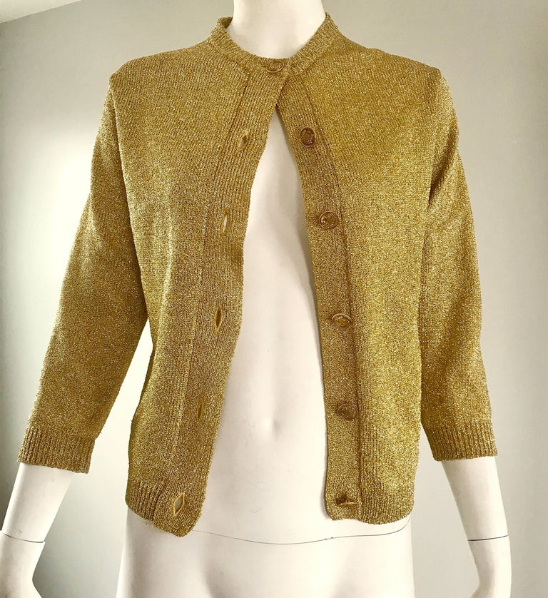 1950s Gold Metallic Lurex 3/4 Sleeves French Made Vintage 50s Cardigan Sweater For Sale 1