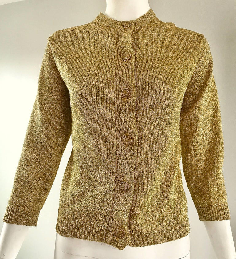 1950s Gold Metallic Lurex 3/4 Sleeves French Made Vintage 50s Cardigan Sweater For Sale 3