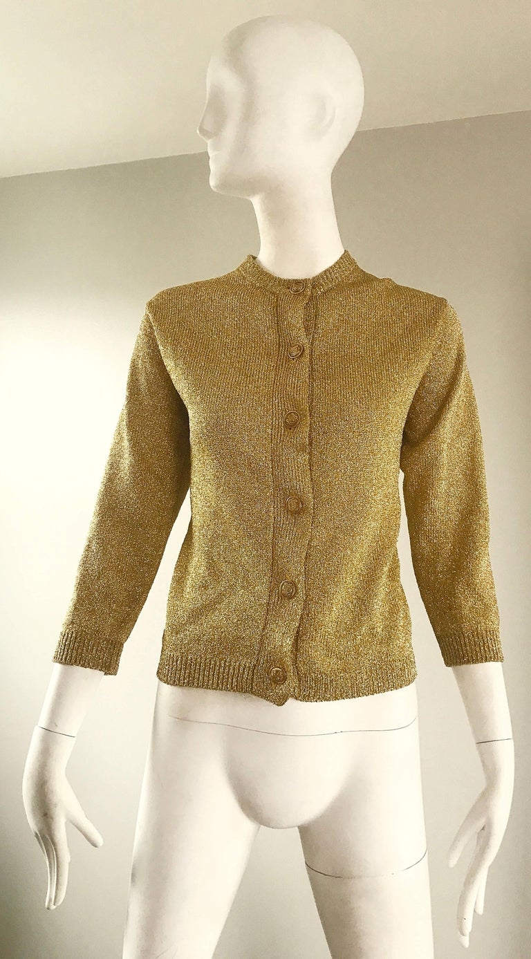 1950s Gold Metallic Lurex 3/4 Sleeves French Made Vintage 50s Cardigan Sweater For Sale 5