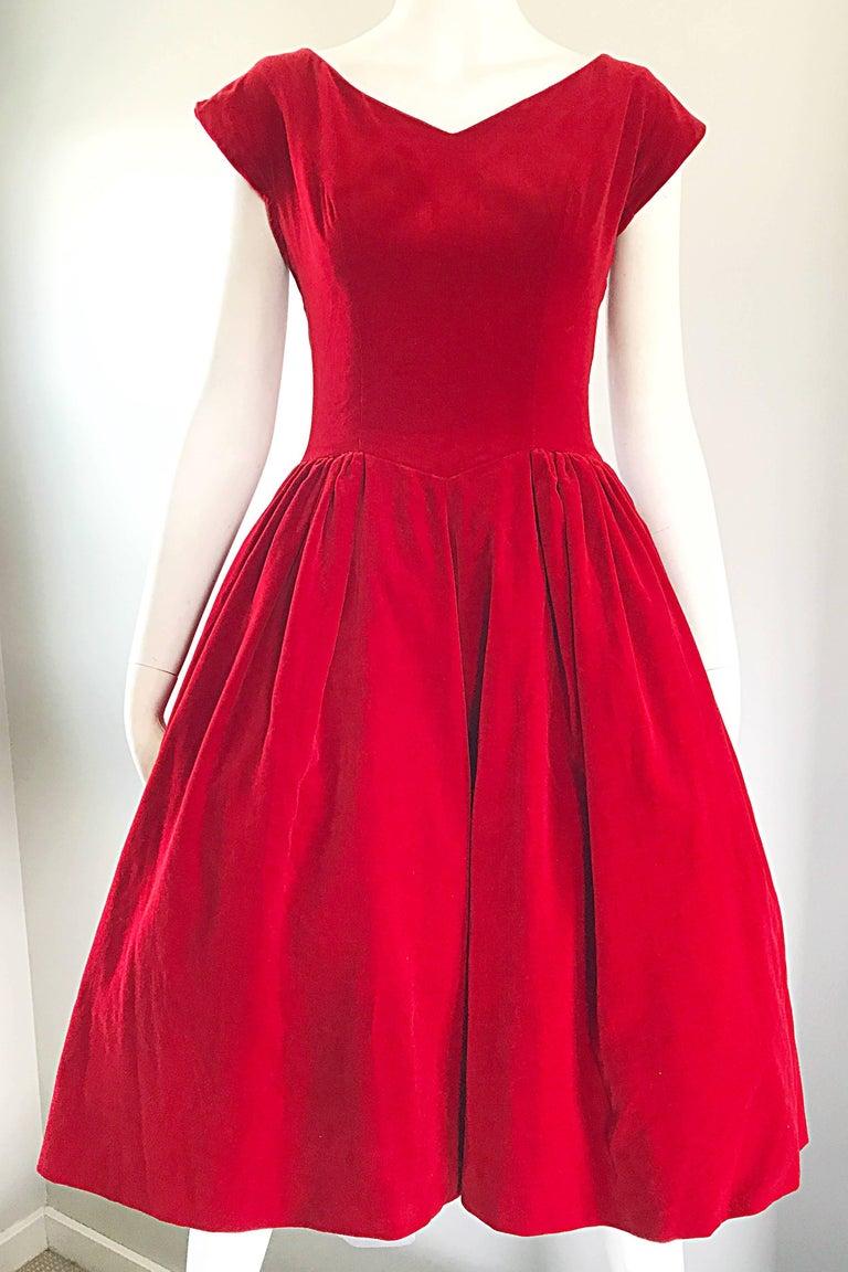 1950s Lorrie Deb Vintage Stunning Red Velvet Fit N Flare