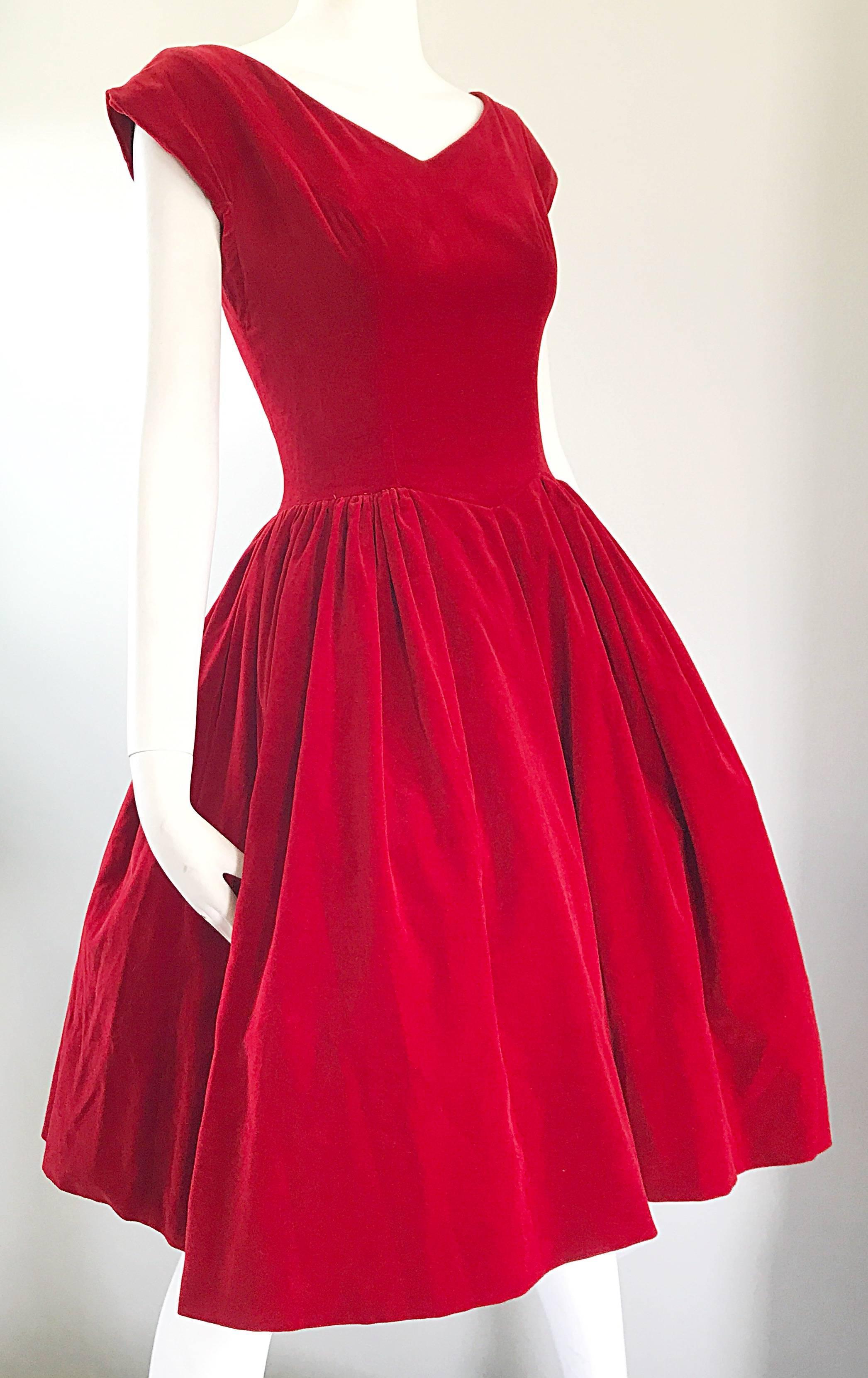 73ee701cdb8 1950s Lorrie Deb Vintage Stunning Red Velvet Fit  n Flare