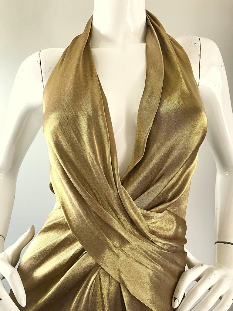 Brown Stunning Vintage Donna Karan 1990s Liquid Gold Silk Plunging 90s Halter Gown For Sale
