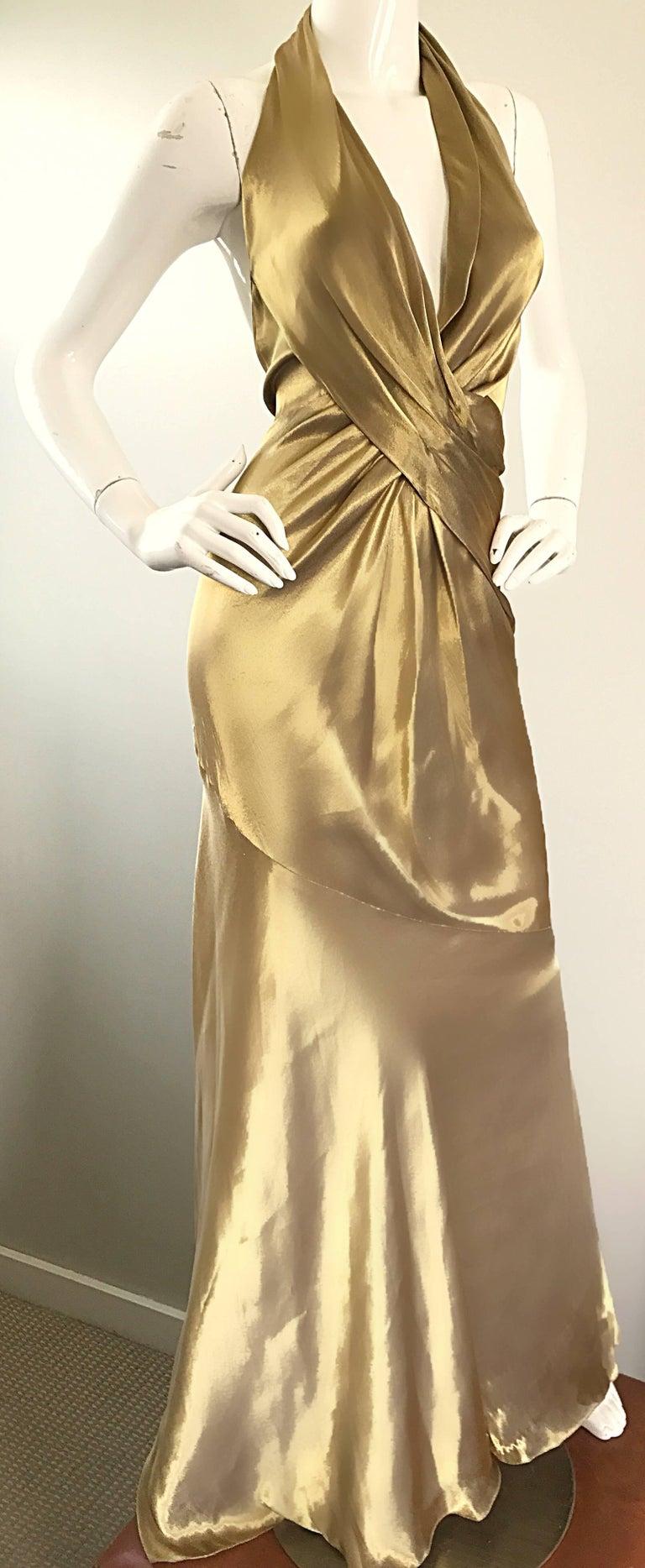 Women's Stunning Vintage Donna Karan 1990s Liquid Gold Silk Plunging 90s Halter Gown For Sale