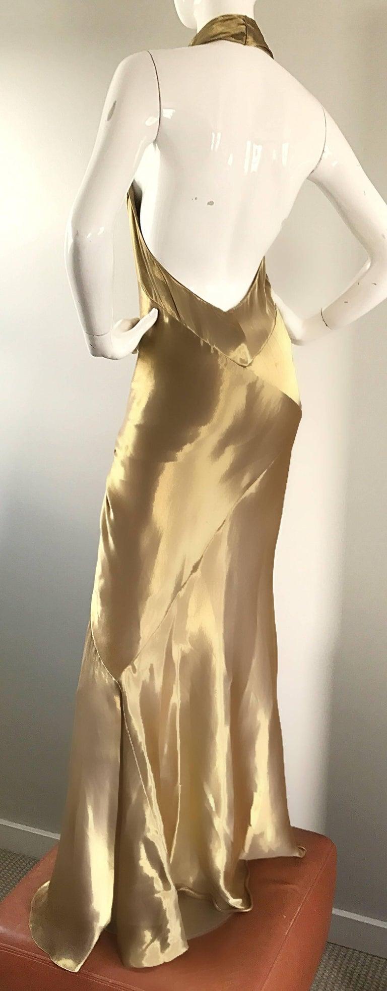 Stunning Vintage Donna Karan 1990s Liquid Gold Silk Plunging 90s Halter Gown For Sale 1