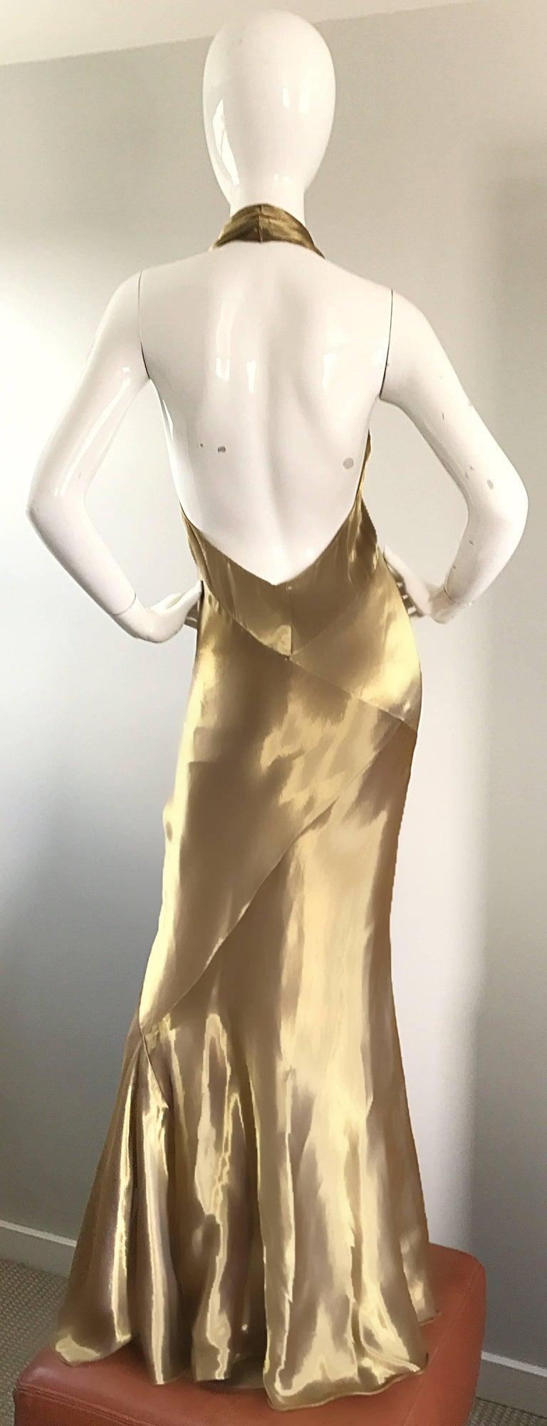 Stunning Vintage Donna Karan 1990s Liquid Gold Silk Plunging 90s Halter Gown For Sale 3