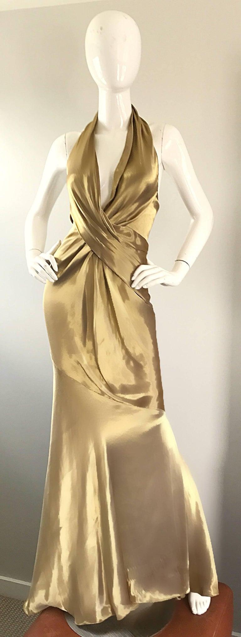 Stunning Vintage Donna Karan 1990s Liquid Gold Silk Plunging 90s Halter Gown For Sale 4