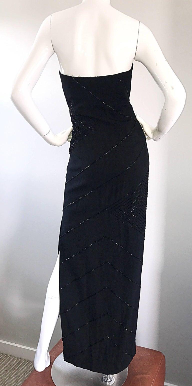 Vintage BIll Blass Black 1990s Beaded Size 8 90s Strapless Evening Dress For Sale 4