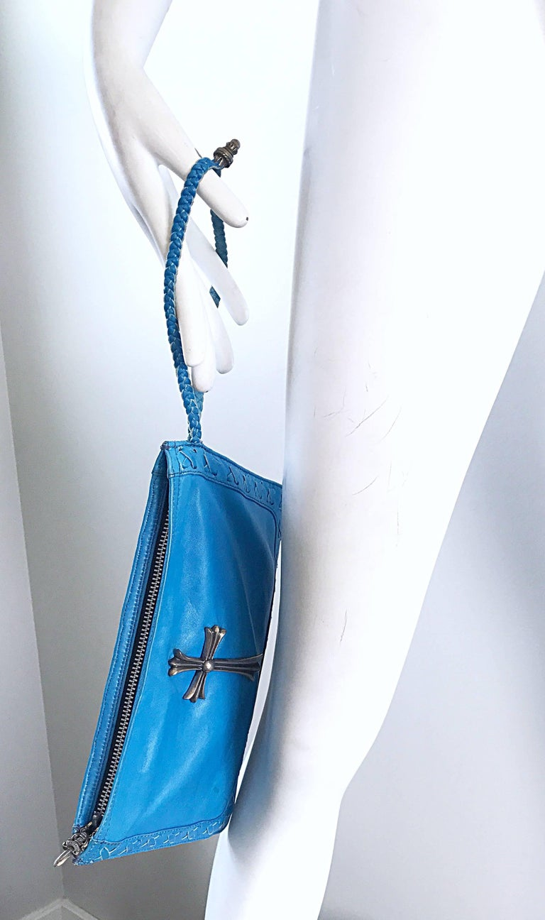 Chrome Hearts 1990s Chrome Hearts Rare Turquoise 90s Leather Wristlet + Pouchette Clutch Bag AthlOrA7eQ