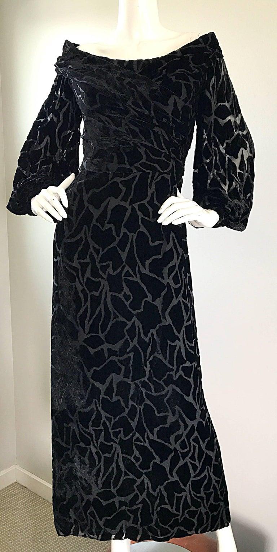 Women's Vintage Liancarlo Couture Size 10 Black Off Shoulder Silk Velvet Burn Out Gown  For Sale