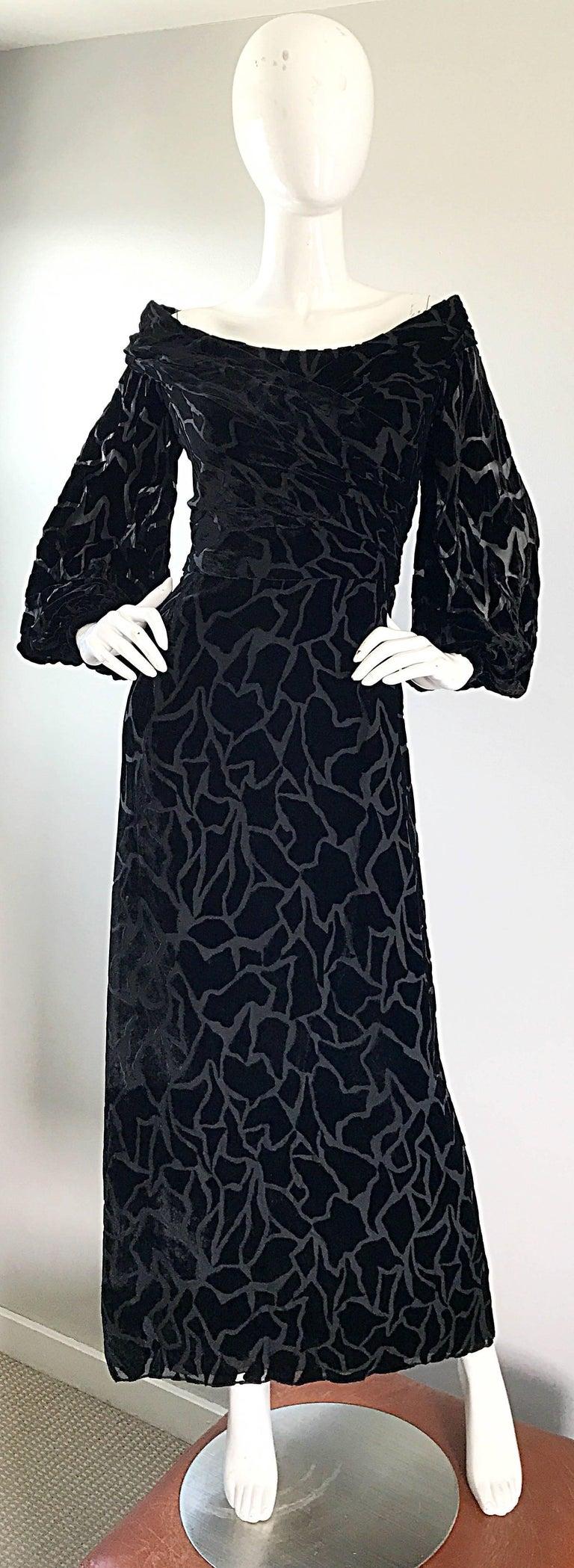 Vintage Liancarlo Couture Size 10 Black Off Shoulder Silk Velvet Burn Out Gown  For Sale 1