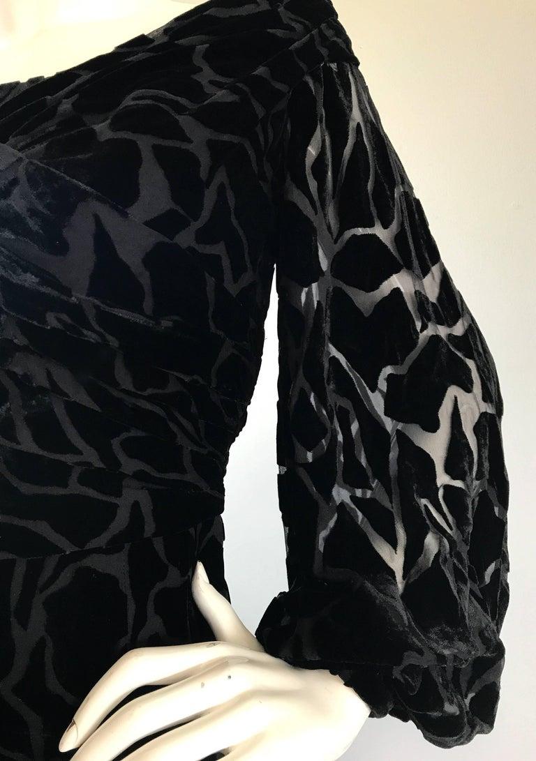 Vintage Liancarlo Couture Size 10 Black Off Shoulder Silk Velvet Burn Out Gown  For Sale 2