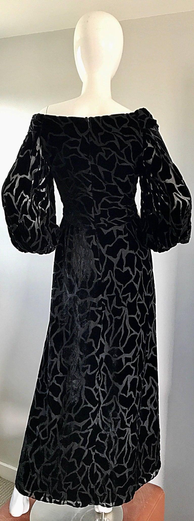 Vintage Liancarlo Couture Size 10 Black Off Shoulder Silk Velvet Burn Out Gown  For Sale 4