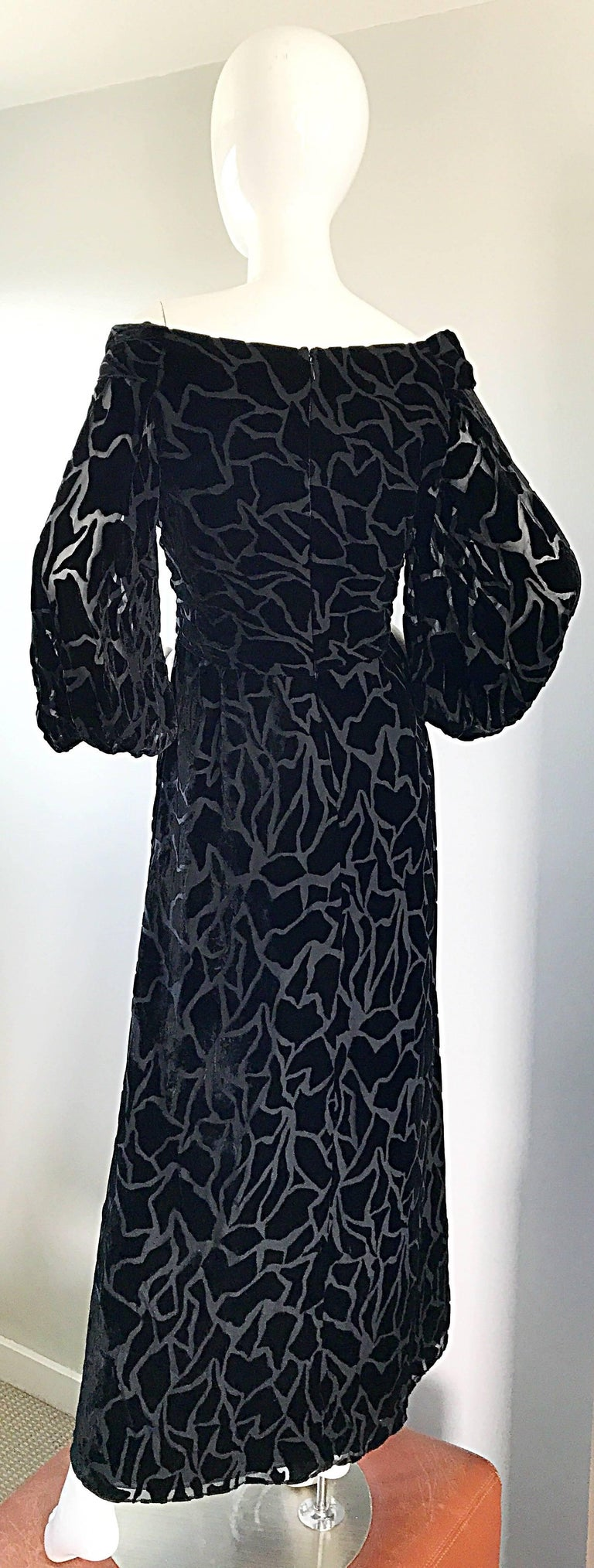 Vintage Liancarlo Couture Size 10 Black Off Shoulder Silk Velvet Burn Out Gown  For Sale 5