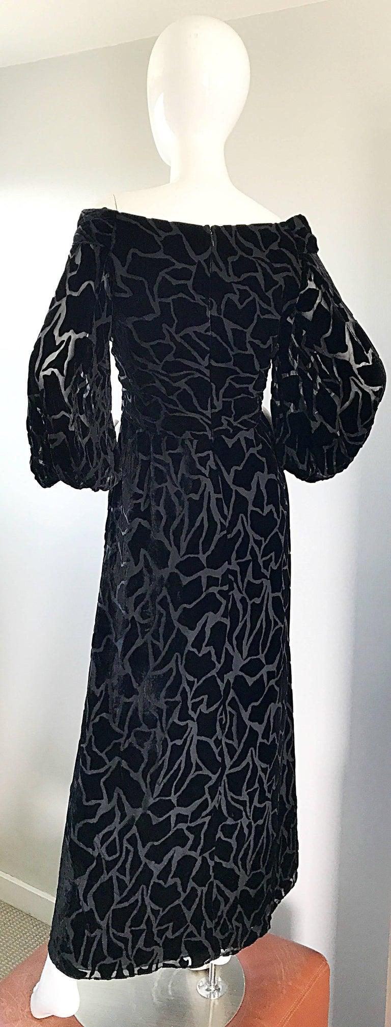 Vintage Liancarlo Couture Size 10 Black Off Shoulder Silk Velvet Burn Out Gown  For Sale 6