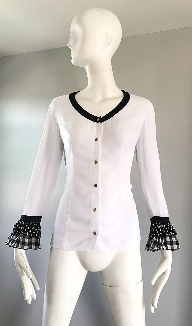 Gray Vintage Gianni Versace 1990s Black and White Polka Dot Plaid 90s Blouse Top Rare For Sale