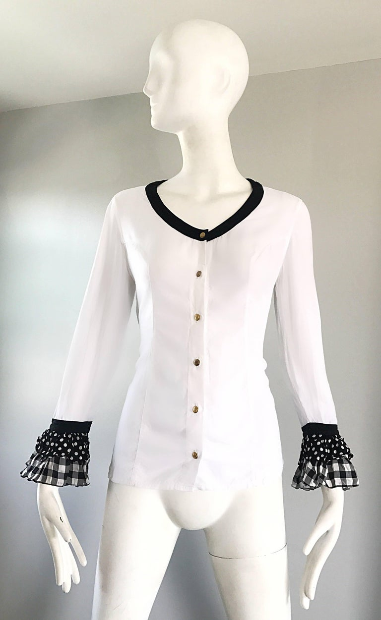 Vintage Gianni Versace 1990s Black and White Polka Dot Plaid 90s Blouse Top Rare In Excellent Condition For Sale In Chicago, IL