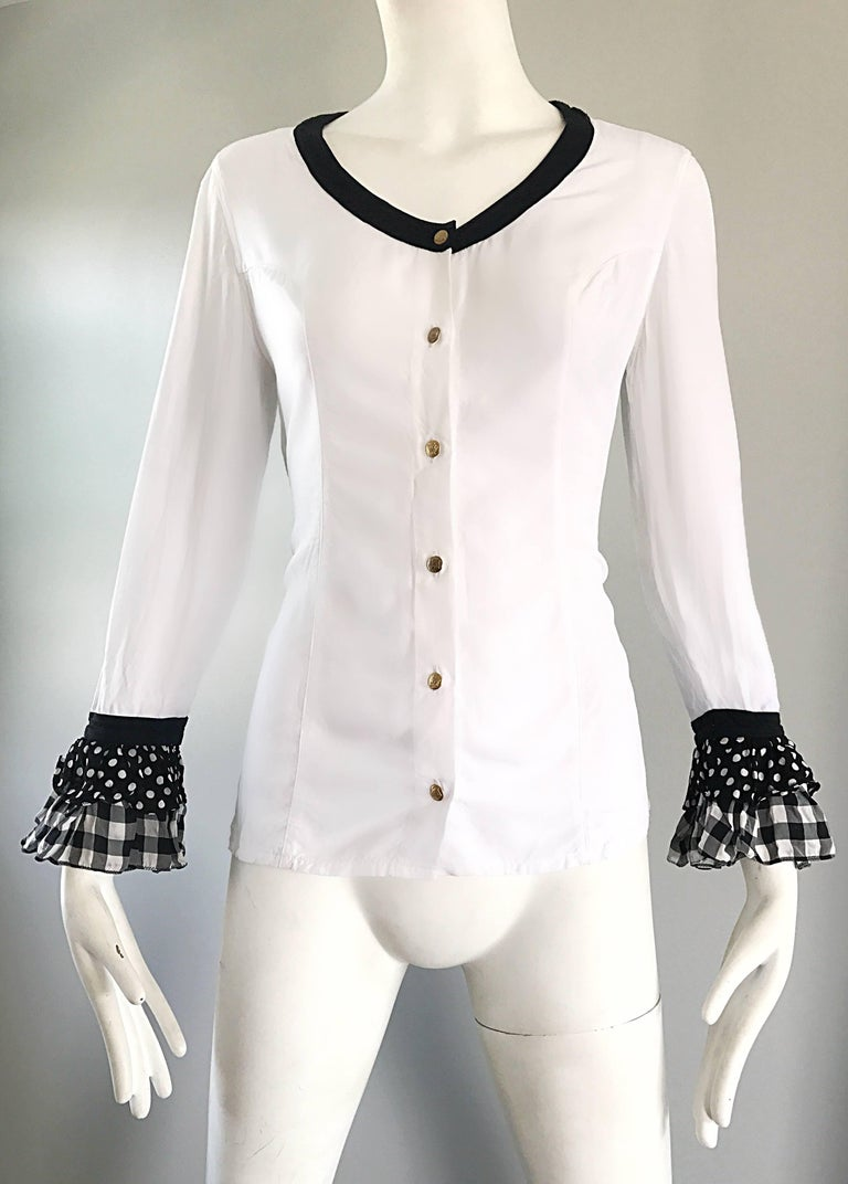 Women's Vintage Gianni Versace 1990s Black and White Polka Dot Plaid 90s Blouse Top Rare For Sale