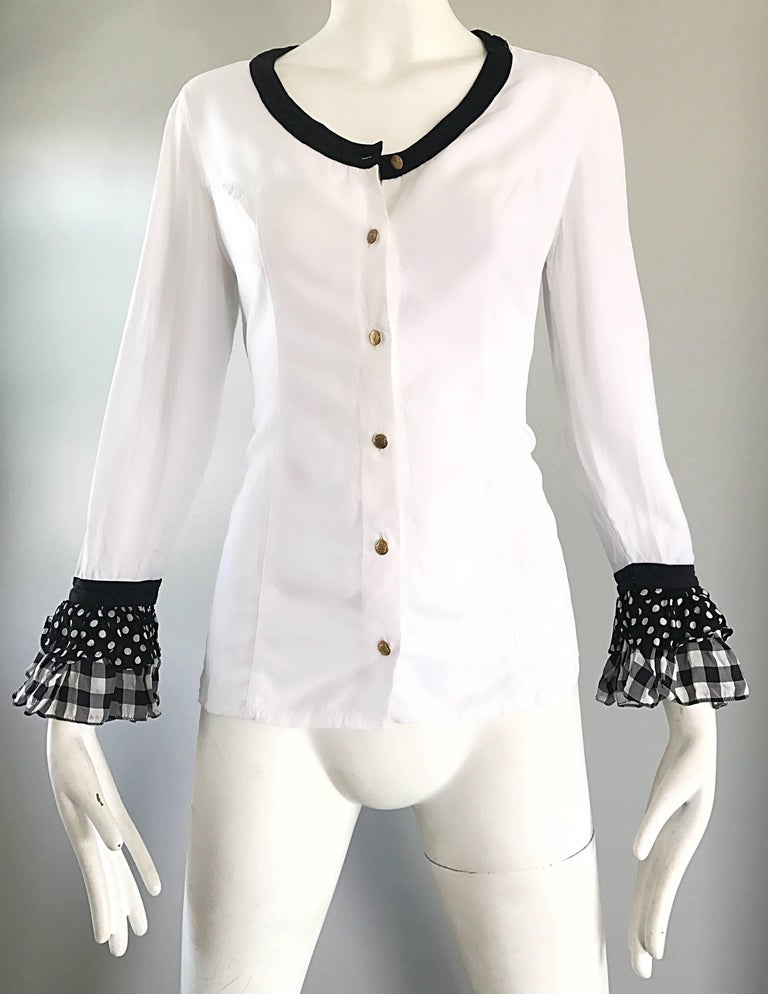 Vintage Gianni Versace 1990s Black and White Polka Dot Plaid 90s Blouse Top Rare For Sale 2