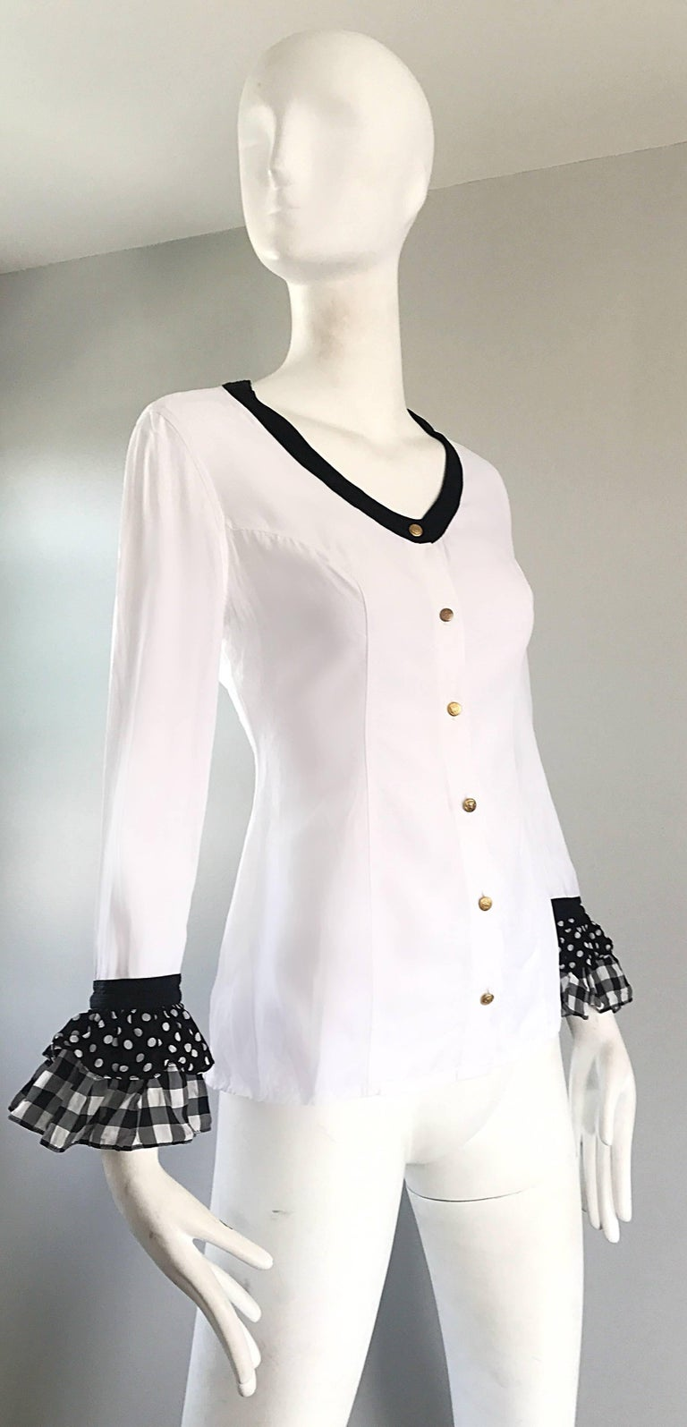 Vintage Gianni Versace 1990s Black and White Polka Dot Plaid 90s Blouse Top Rare For Sale 3