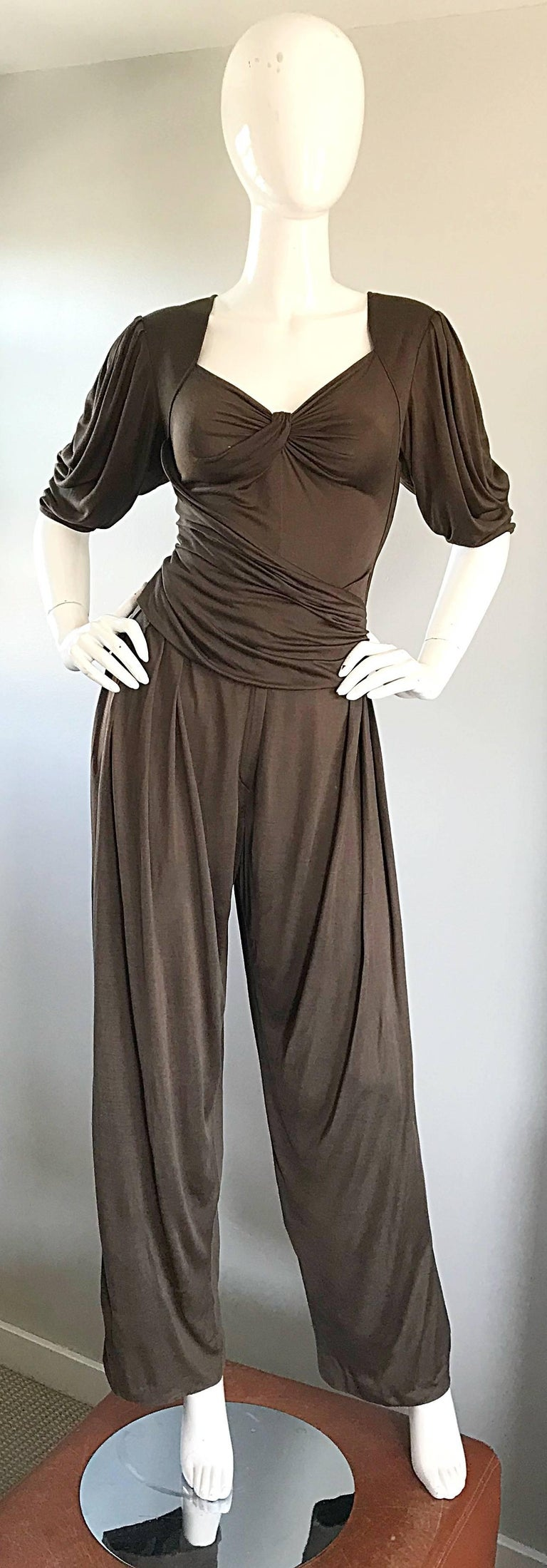 Black Vintage Emanuel Ungaro Silk Jersey Taupe Two Piece Harem Pants Ensemble Pant Set For Sale