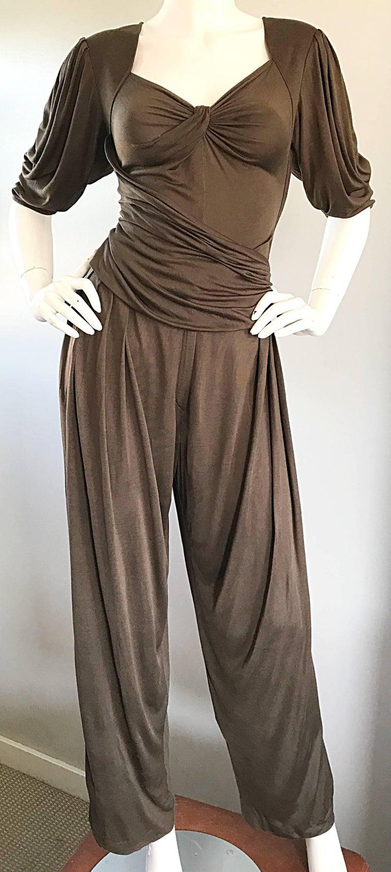 Women's Vintage Emanuel Ungaro Silk Jersey Taupe Two Piece Harem Pants Ensemble Pant Set For Sale